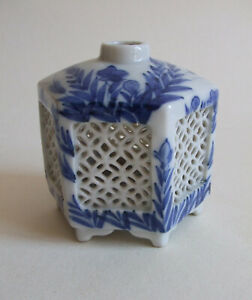 Small Chinese Porcelain reticulated jar / pot blue & white incense stick holder