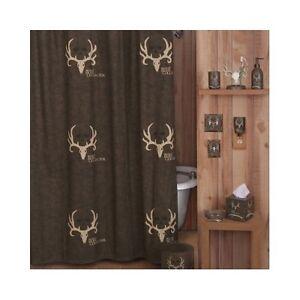 Bone Collector Shower Curtain Deer Antler Rustic Bathroom Hunting Bath Decor New EBay