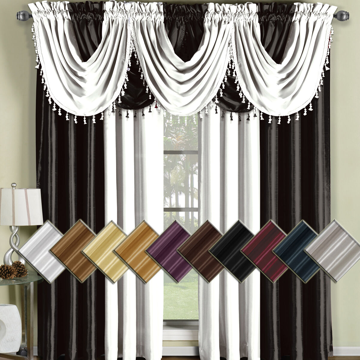 Soho Rod Faux Silk Waterfall Window Treatment Includes 4