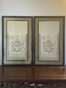 pair chinese silk embroidery dragon framed w/glass. (frame:37x59)x