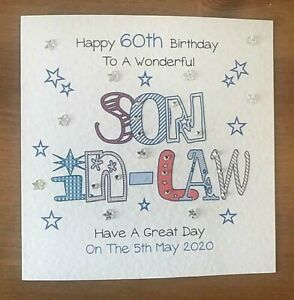 Handmade Personalised Birthday Card Son In Law 30th 40th 50th 60th Any Age Ebay