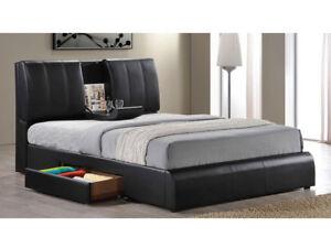 details about modern design eastern king size bed storage headboard black pu bedroom furniture