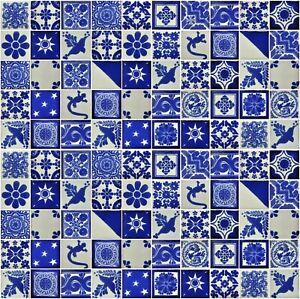 details about 100 mexican talavera tile 2x2 various blue white designs handpainted