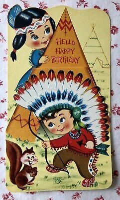 Vintage Unused Birthday Card Cute Native American Indian Children Teepee Ebay