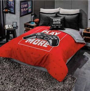 details about gamer controller juniors boys reversible comforter and sheet set 6pcs twin size