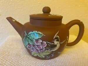 Antique Yixing Zisha Clay Teapot With Colorful Glaze Of flowers and bird, signed
