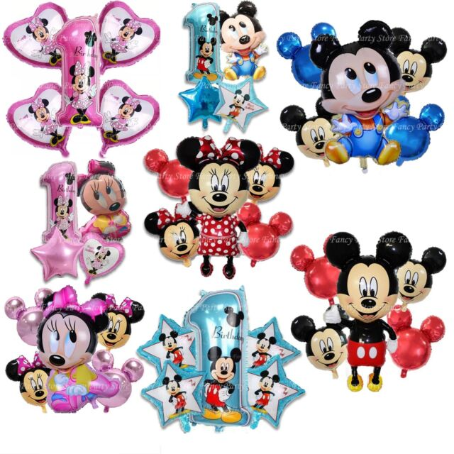 Disney Mickey Minnie Mouse Birthday Balloons Foil Latex 1st Birthday Baby Shower Greeting Cards Party Supply Party Supplies