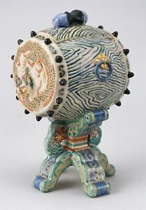 Japanese Edo Period Kyoto Gosu Blue Satsuma Drum Censer Box 8 1/2 Inches Height