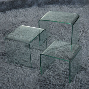 set of 3 bent glass nest of side tables