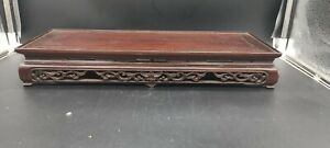 Large Carved Chinese Hardwood Rectangular Ornament Stand