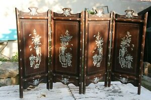 details sur petit paravent bois exotique decor de nacre chine indochine chinese wood screen
