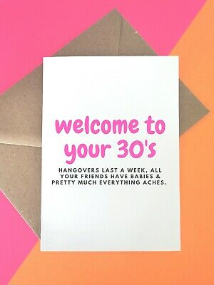 Funny Joke 30th Birthday Card For Her Best Friend Sister Woman Hangover Old 30 Ebay