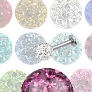 Titan 1,2mm Labret mit 3mm 4mm Epoxy rundum Kristall Kugel Lippen Ohr Piercing