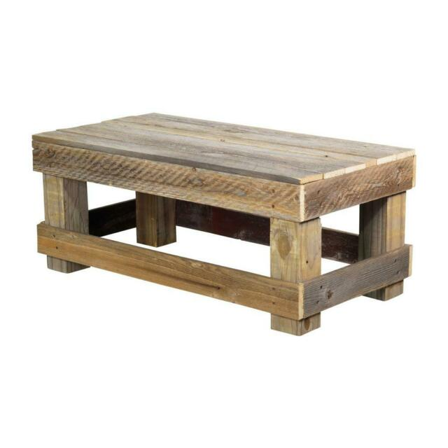 reclaimed wood coffee table rustic barnwood plank farmhouse shelf no assembly