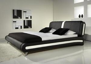Image Is Loading Modern Double Or King Size Leather Bed Black