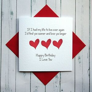 Birthday Card Wife Husband Girlfriend Boyfriend Partner Romantic Card Love Ebay