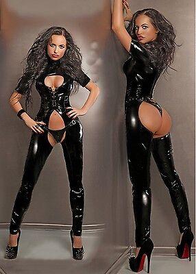 catsuit combinaison chaps overall pvc vinyle noir latex cuir lingerie sexy 38048 ebay