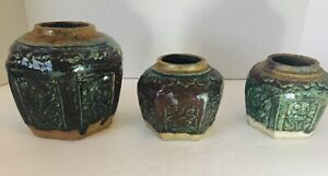 Three Antique Chinese Ming Style Shiwan Glazed Pottery Ginger Jars Earthenware