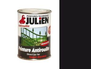 details sur peinture fer 0 25l noir satin julien fericolor antirouille laque metaux ferreux
