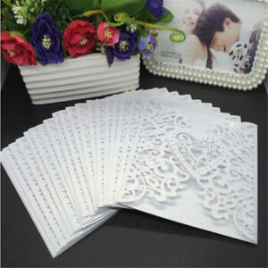 Details About 50pcs White Laser Cut Wedding Invitation Card W Custom Personalized Printing Bo