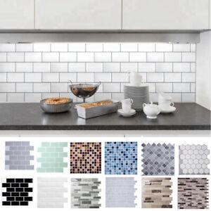 details about peel stick 3d self adhesive mosaic wall tile sticker bath kitchen wall tile uk
