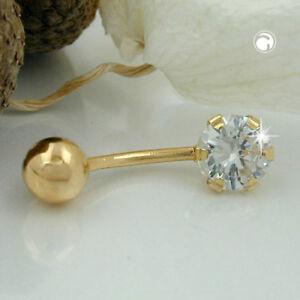 585 Gelbgold Goldpiercing Piercing 20x6mm Banana Zirkonia 14Kt GOLD