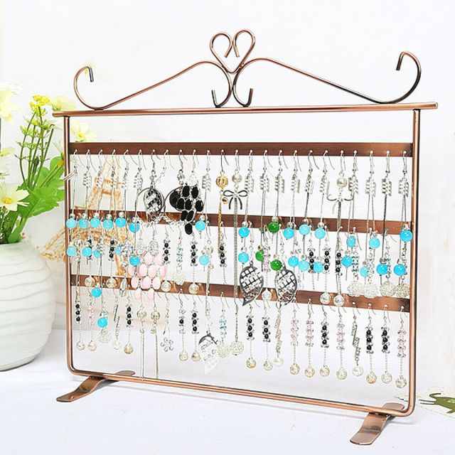 72 Holes Earring Jewelry Necklace Display Rack Metal Stand Holder Organizer US 3