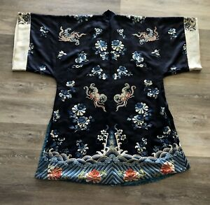 Fine Antique Chinese Silk Black Robe With Flowers Qing Period
