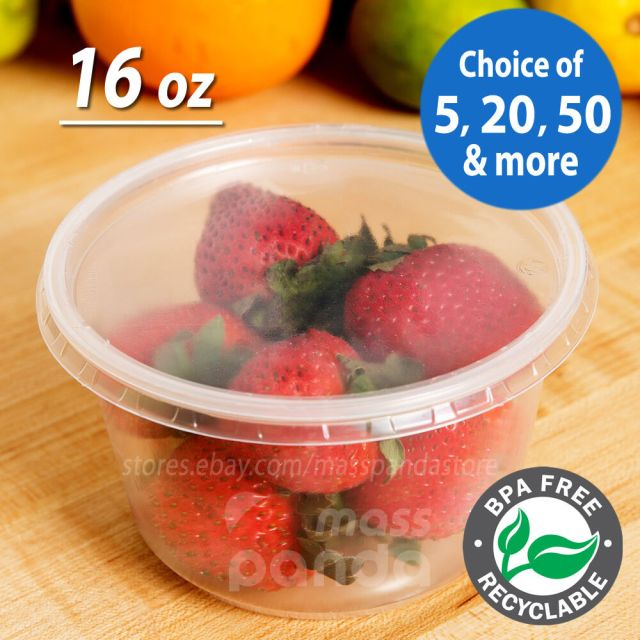 16oz Round Deli Food/Soup Storage Containers w/ Lids Microwavable Clear Plastic 2