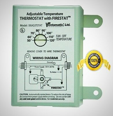 ventamatic 10 amp adjustable thermostat with firestat power attic  ventilators  ebay