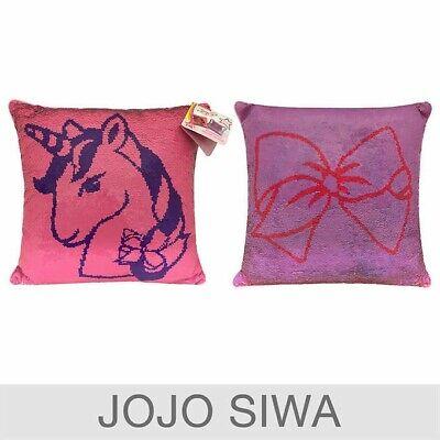 jojo siwa unicorn bow reversible sequin pillow lg 20 flip purple pink girls 32281194925 ebay