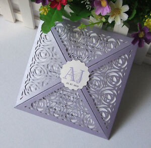 Details About 50 Luxury 4 Fold Vintage Purple Laser Cut Lace Wedding Invitation Diy Craft Card