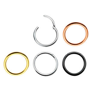 0,8mm Rose Gold Schwarz Silber Piercing Clicker Hinged Segment Ring Scharnier