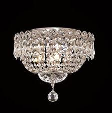 World Capital Empire 4 Light Flush Mount Crystal Chandelier Chrome