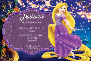 details about personalised tangled princess rapunzel birthday party invites envelopes t3
