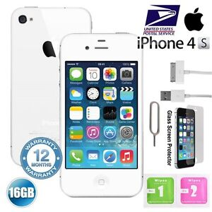 "Apple iPhone 4S 16GB ""Factory Unlocked"" Mobile Smartphone iOS Black White US"