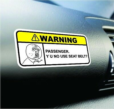 No Use Seat Belt Funny Dash Sticker Set Vinyl Decal Jdm Car Truck