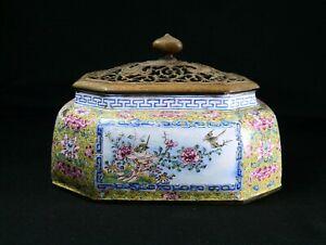 Antique Chinese Qianlong Yellow Ground 18th century Canton Enamel Censer.