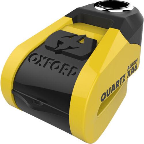 Oxford-Quartz-XA6-Alarm-Disc-Lock-6mm-pin-Yellow-Black-Motorcycle-Security