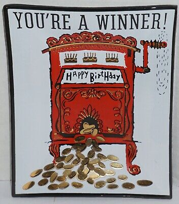 Vintage Glass Tray Dish Happy Birthday You Re A Winner Slot Machine Gift Comical Ebay