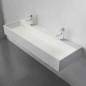 https www ebay com itm 47 inch wall mount double sink stone resin bathroom sink vanity in matte white 264583759147 ul in