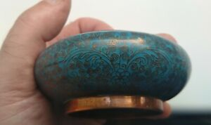 Fine Quality small 19th Century Antique Chinese Turquoise Cloisonne Brush Washer