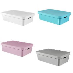 details sur boite rangement avec couvercle plastique curver infinity 30l quatre couleurs