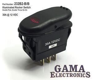 Illuminated 30 Amp DPDT 2 Position OnOn Rocker Switch