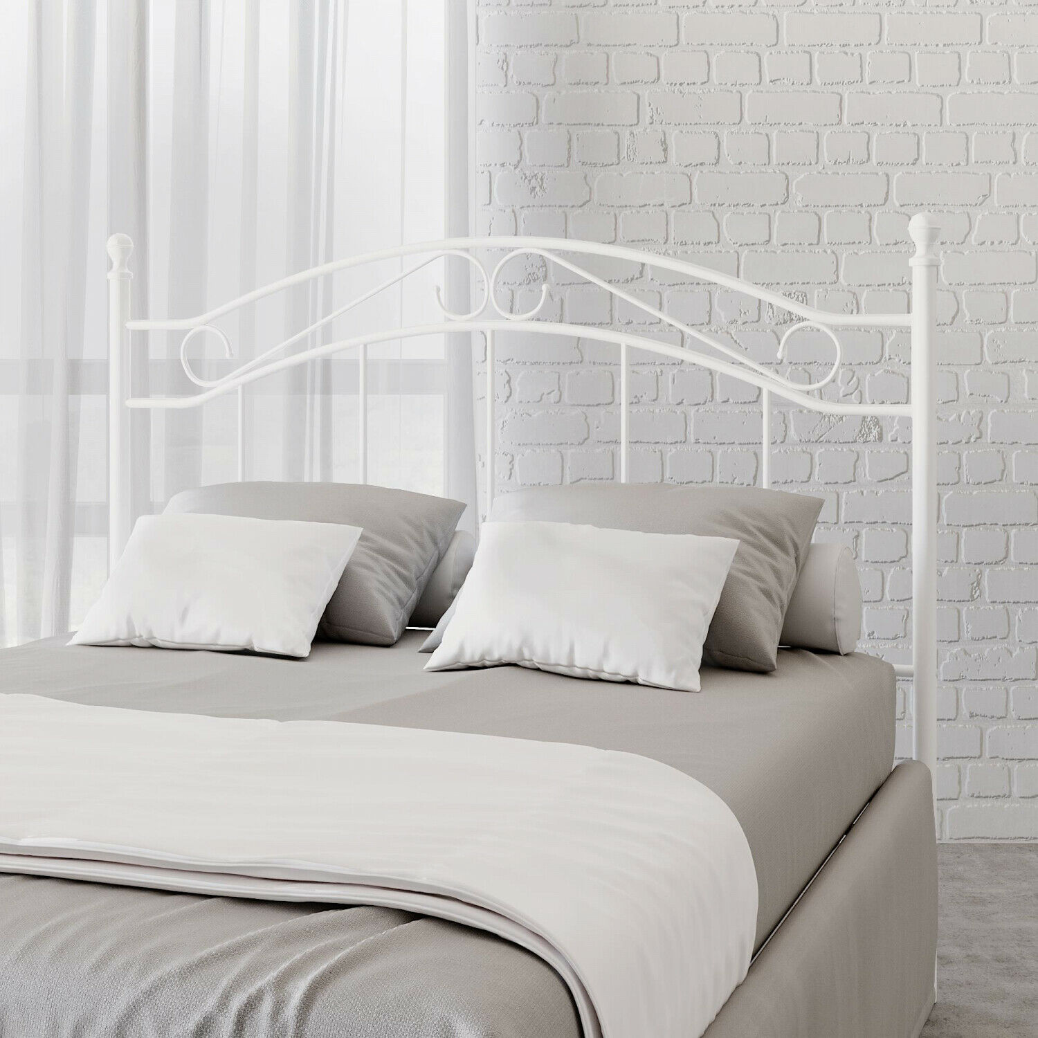 full queen size bed frame metal white bed headboard modern bedroom furniture