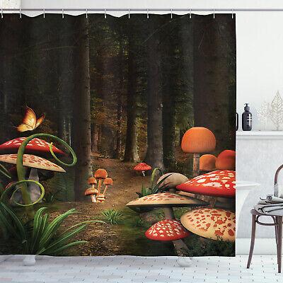 mushrooms in deep dark forest fantasy nature themed image shower curtain set 8681273471678 ebay