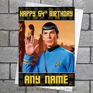 Star Trek Birthday Card Mr Spock 5x7 Inches Personalised Plus Envelope Ebay