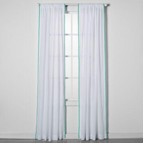 pillowfort white mint green pom sheer curtain window panels new 2 lot of
