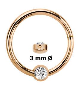 Lippenbändchen Piercing Ring BCR Rose Gold Clicker Verschluss und Stein Platte