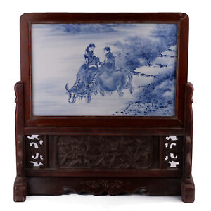 """20.5"""" (H) Antique Chinese Blue and White Porcelain Painting Wood Screen"""